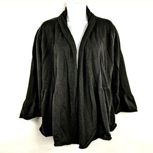 Heather B Black Open Front Cardigan Flare Bell 2X